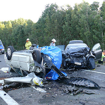 Scene of the fatal car accident on the David Low Way, near Marcoola.