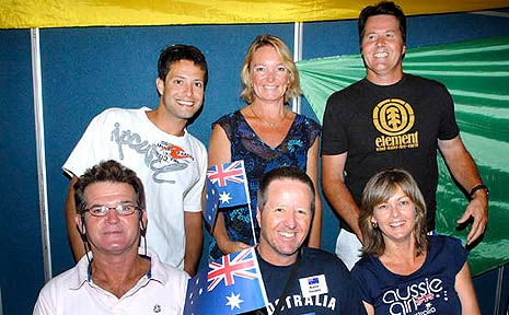 The newest imports to the Australian way of life are (back row:l-r): Luke Tweddle, Leahan Walker and Nick Tweddle; (front row:l-r): Terry Seccombe, Martin Tweddle and Marie Nelson.