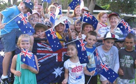 Children get into the Australia Day spirit at celebrations at New Brighton.
