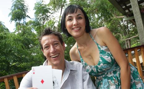 Stewart Scott and his wife Anastasia celebrating their big poker win.