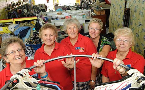 Volunteers at the Westpac Lifesaver Helicopter Op Shop (l-r): Isobel Perry, Heather Fisher, Freda Farmer, Nyree Epplett and Maree Motbey.