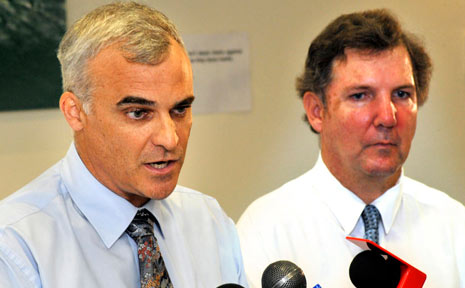 Facing the media: NCAHS chief executive, Chris Crawford (R), and North Coast Cancer Institute director, Associate Professor Tom Shakespeare (L), break the news.