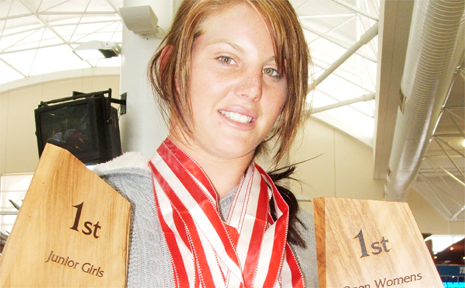 Barefoot skier Ashleigh-Kate Stebbeings returns from New Zealand with a medal haul.