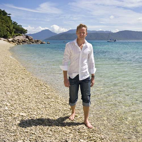 Marketing Win: Joshua Hunt strolls on the shore of his Fitzroy Island which will be a location for this season of The Biggest Loser on network Ten. Photo:Contributed