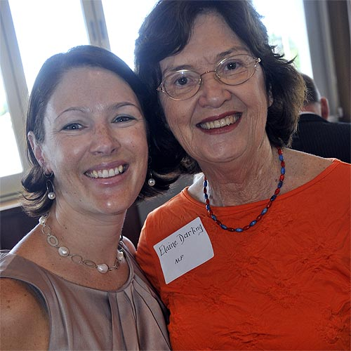 Jody Tunnicliffe and Elaine Darling at the Laura Hawkins business luncheon at the Waterfront Hotel in Bli Bli. Photo: John McCutcheon/180608e