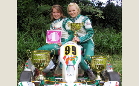 Go kart girls Abbey (left) and Nichola Kellie, big winners in the recent Combined Districts Kart Club Ladies Event, which also raised $20,000 for breast cancer research