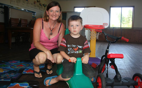 Sue Flynn and her son Tully Stewart, 4 at the playgroup hall last week. The playgroup is looking for a new co-ordinator.