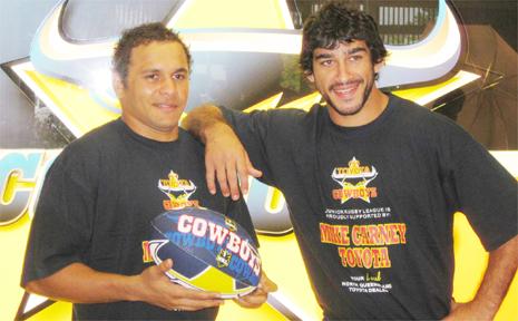 Cowboys stars Matt Bowen and Johnathan Thurston model the training shirts.