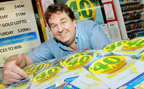 North Mackay Newsagency owner Mark Faulkner is excited about tonight's $40 million Oz 7 Lotto jackpot.