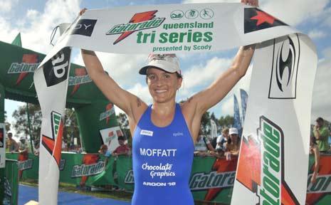Emma Moffatt wins the open women's race at the Caloundra Triathlon.