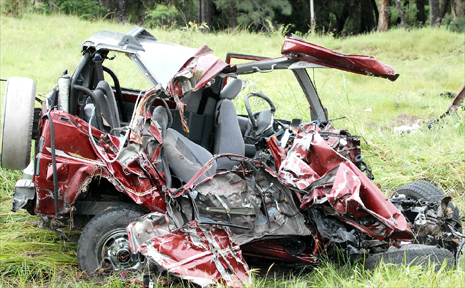 The manged four-wheel drive in which a 51-year-old male Mackay driver died after a crash on the Peak Downs Highway near Nebo yesterday morning.