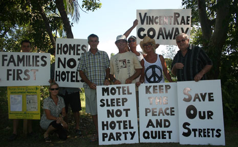 Residents of Oakland Court at Byron Bay protesting against the planned 'hotel' development near their homes.