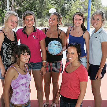 Molly Munro, Georgia Gribbin, Maddy Campbell, Tara Nugent, Taylor McCann and Simone and Chloe Tozer have some fun at Saturday's Coolum netball sign-on. Photo: Mike Garry/scw1321a