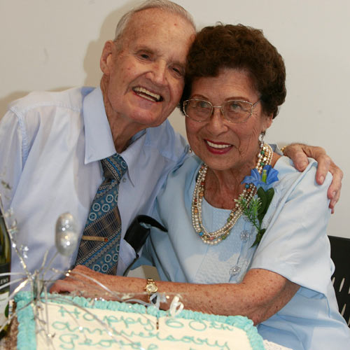Beyond Expectation: George and Betty Reid married 60 years ago and celebrate their 60th wedding anniversary at a surprise party organised by Mr Reid. Photo:Barry Leddicoat/180903