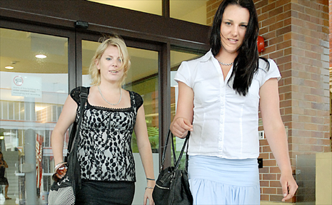 Jane Tissington, left, and Amanda Hines testified yesterday at the manslaughter trial of English backpacker Daniel Dean.