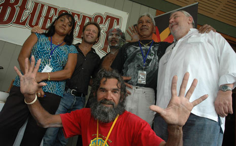 Bluesfest Indigenous stage manager Peter Jangala (at front) with Yvonne Stewart, Troy Cassar-Daley, Lewis Walker, Mick Kay and Bluesfest Director Peter Noble at the launch of the Indigenous stage.