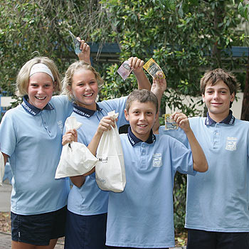 Coolum Primary School vice-captain Jaimi Barton, captains Chelsea Ansell and Isak Ljubisavljevic and vice-captain Jarvis McNamara. Photo: Mike Garry/scw1334a