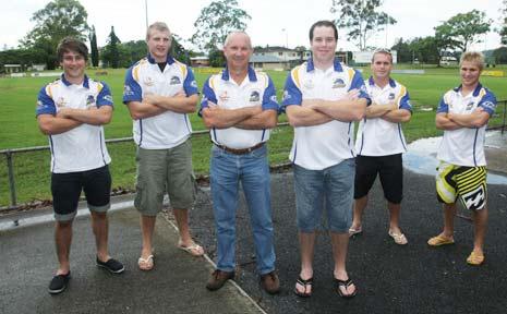 Mustangs Pat Penny, Luke Burns, Brian Fletcher, Brad Purtell, Dean Corrigan, Steve Shaw.