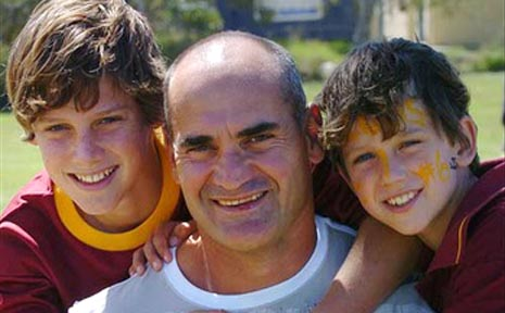 Dale Shearer with his two sons, Jesse 17, and Jakson, 14. Both of his sons play for Coolum Junior Rugby League Club.