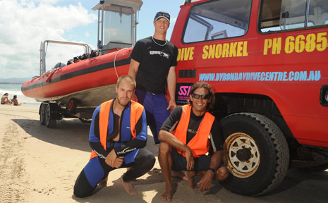 Byron Bay Dive Centre staff- Perry Bartholomew (at rear), Thomas Bejeau and Ricky Vidler at the Pass, Byron Bay.