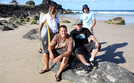 Roots artist Ash Grunwald will join local outfit the Winnie Coopers, both pictured here at Duranbah Beach, for the Quiksilver Pro Show at D-bah on March 11.