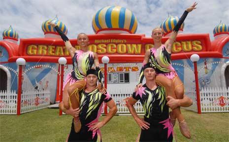 Moscow Circus acrobats Viktor Martisevich and his partner Katsiaryna with Alexander Nareika and Tatsiana Paltauskaya.