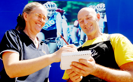 Grafton City Cycles owners Sue Webber and Trevor Creighton sign up to tackle the Grafton to Inverell Cyclo-Sportif.