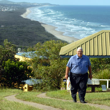John Low is upset the lookout named after his dad has been degraded by new driveways. Photo: Warren Lynam/180980c