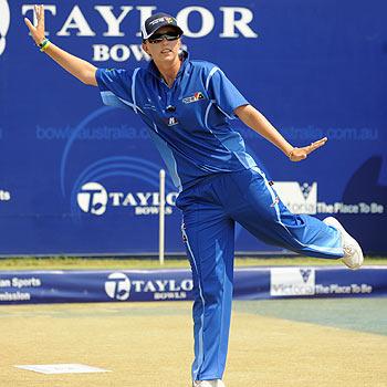 Kelsey Cottrell in action at the Australian Open. Photo: Christina Prochazka