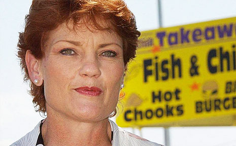 Pauline Hanson as she appeared on the Queensland election hustings in 2009.