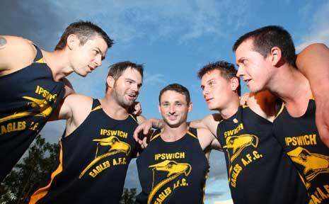 Ipswich Eagles unveil their new leadership group (from left) Glenn Wright, Aaron Fortescue, Matt Gordon, Shaun Green and Glen Jackwitz.