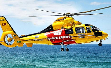 The Westpac community rescue helicopter.