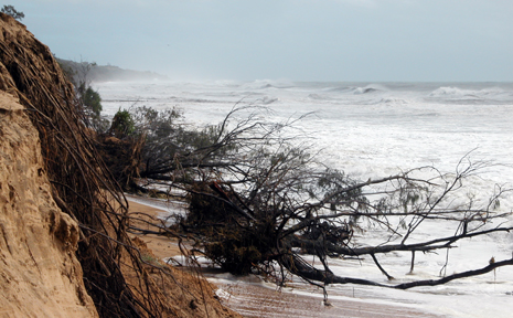 The damage to the Agnes Water beach in the wake of Cyclone Hamish.
