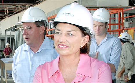 Premier Anna Bligh in Mackay yesterday to visit the convention centre under construction.