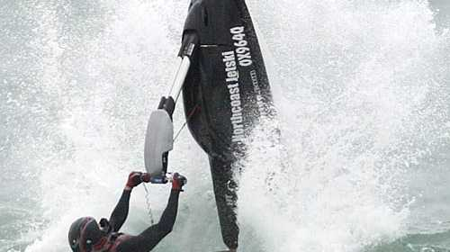 Mooloolaba jet skier Aaron Frankland enjoys swells offered by Cyclone Hamish. Photo:Cade Mooney/181375