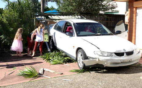 THE driver of this Holden Commodore left the scene after crashing through the fence of a house in Ducat Street, Tweed heads.