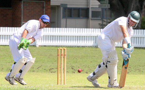 BROTHERS first grade captain Brad Robertson defends a ball into the legside during his innings of 115 on Saturday.