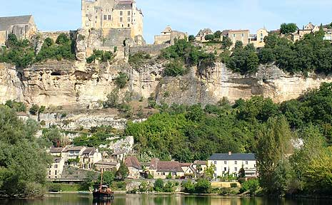 The medieval town of Beynac on the Dordogne River, France.