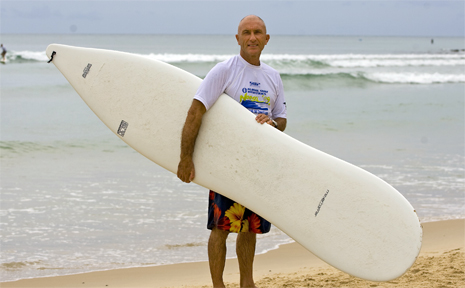 Thomas Meyerhoffer tries out his hour glass surfboard design.