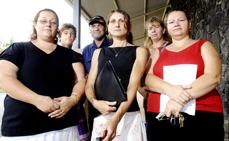 CONCERNED PARENTS: Angry about bullying at Casino High school are rear from left, Alex Killiby, Greg Killiby, and Connie Scholl, and front from left, Anne (last name withheld), Monica Killiby, and Sharon Gill, all of Casino.