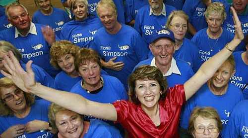 Fiona Simpson Celebrates retaining the seat of Maroochydore. Photo: Barry Leddicoat