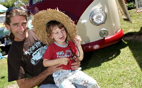 Zane Jenkins and his son Adrian with their 1957 Volkswagen Kombi van.