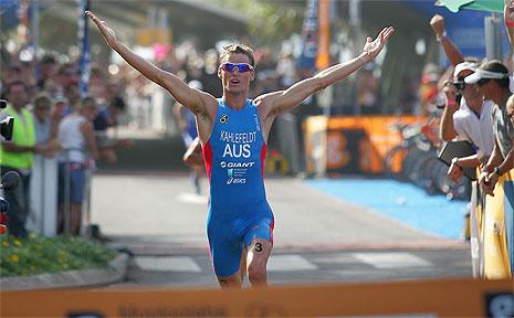 Gold Coast-based triathlete, Brad Kahlefeldt celebrates a win at the 2007 Mooloolaba Triathlon.