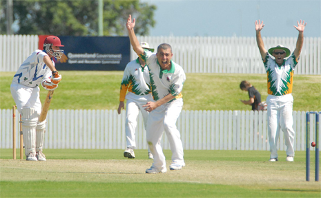 Brothers batsman Mick Dunn survives a close call from the bowling of Pioneer Valley's James Falconer.
