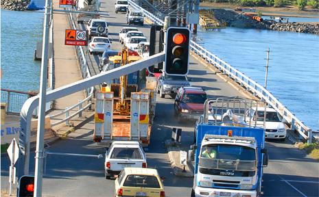Forgan Bridge replacement construction traffic.