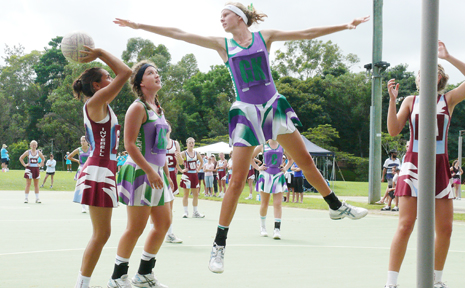 GRAFTON under-15 netballer Tahlia Goodwin flies high during the Grafton Netball two-day carnival on Sunday.