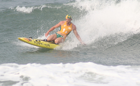 HUGH Dougherty competes on the board during competition in South Africa.
