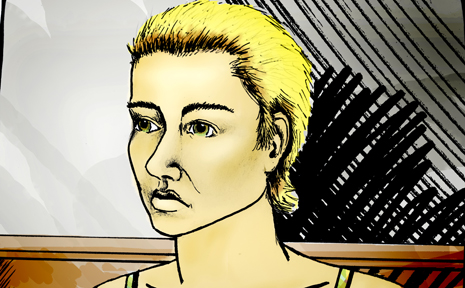AN artist's impression of one of the accused, Margareta Dobrica.