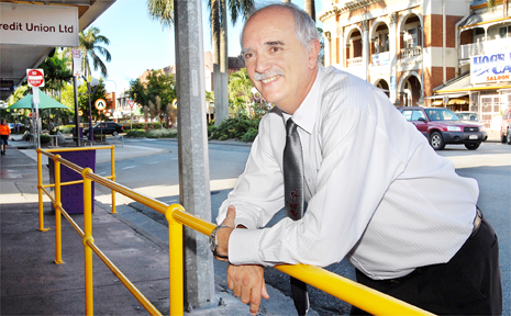 Mackay Regional Councillor Dave Perkins at the Wood Street taxi rank, where there soon will be closed circuit television cameras recording 24 hours a day.