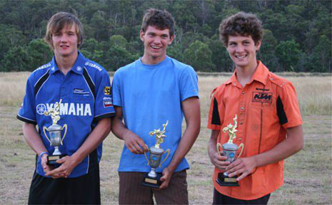 Pictured with their trophies (l to r) are Tom McCormack, Tom Jenner and Lachlan Stanford